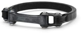 David Yurman Anvil Narrow Black Leather Id Bracelet, 6.5Mm