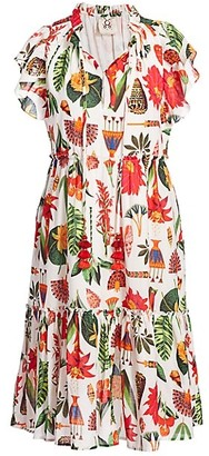 Figue Global Caravan Marguerita Tropical Print Dress