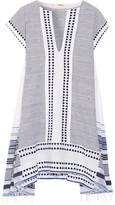 Lemlem Yeshi Striped Cotton-blend Gauze Mini Dress - Midnight blue