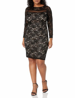 Marina Women's Sequin Lace Cocktail Dress with Illusion Neckline