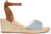 Soludos Leather and denim espadrille wedge sandals
