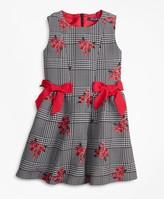 Brooks Brothers Girls Floral Jacquard and Houndstooth Dress