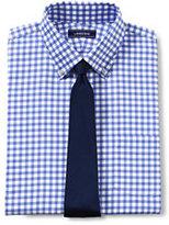 Lands' End Men's Tailored Fit Lightweight No Iron Oxford Dress Shirt-Gray Heather Check