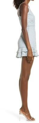 Lulus Sweet Like Candy Lace Ruffle Hem Minidress