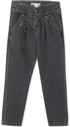 Alberta Ferretti Grey Cotton Studded Jeans