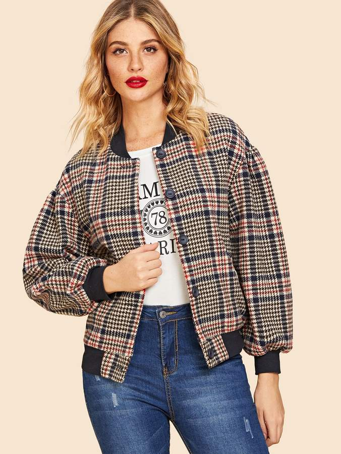 Shein 70s Button Up Houndstooth Bomber Jacket