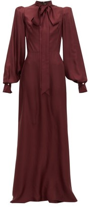 The Vampire's Wife Pussy-bow Silk-twill Gown - Burgundy