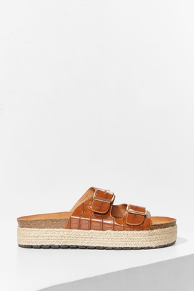 Nasty Gal Womens Step on Up Faux Leather Croc Sliders - Camel