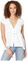 Scully High-Low Cap Sleeve Blouse (White) Women's Blouse
