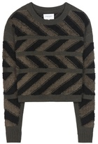 Public School Inlay Cross Knitted Chenille Sweater