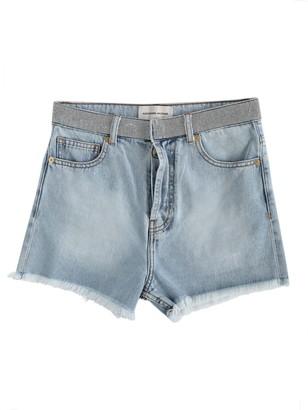 Alexandre Vauthier Crystal Belt Denim Shorts