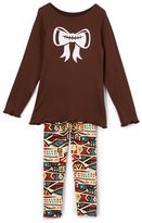 Beary Basics Brown Football-Bow Tee & Geo Leggings - Toddler & Girls