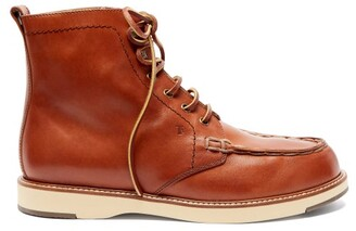 Tod's Topstitched Leather Ankle Boots - Tan