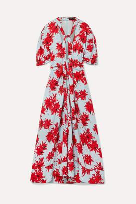 Proenza Schouler Pussy-bow Floral-print Georgette Midi Dress - Sky blue