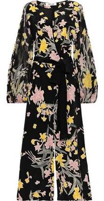 Diane von Furstenberg Delphi Wrap-effect Floral-print Chiffon And Silk Crepe De Chine Jumpsuit