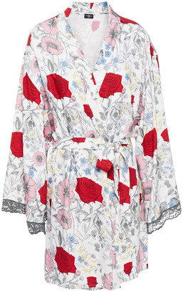 Cosabella Lace-trimmed Floral-print Twill Robe