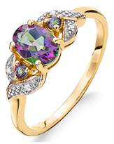 Fashion World 9ct Gold Mystic Topaz & Diamond Ring
