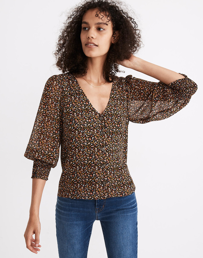 Madewell (Re)sourced Georgette Smocked-Cuff Button-Front Shirt in Folktale Paisley