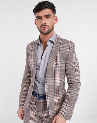 ASOS DESIGN super skinny longline suit jacket in camel multicolour check