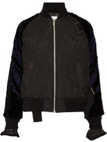 Sacai Quilted Shell And Appliquéd Velvet Bomber Jacket - Black