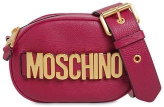 Moschino Logo Grained Leather Camera Bag