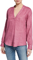 120% Lino V-Neck Long-Sleeve Linen Tunic