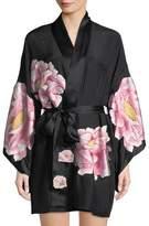 Josie Natori Radiant Peony Silk Short Robe