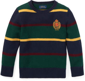 Ralph Lauren Childrenswear Merino Wool Multi-Stripe Crest Sweater, Size 2-4