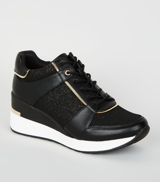 New Look Leather-Look Glitter Panel Wedge Trainers