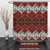 Vipsung Shower Curtain And Ground MatSafari Decor By Ambesonne African Style Wild Animal Skin Stylized Stripes in Diamond Pattern Native Tribal Artworkred BrownShower Curtain Set with Bath Mats Rugs