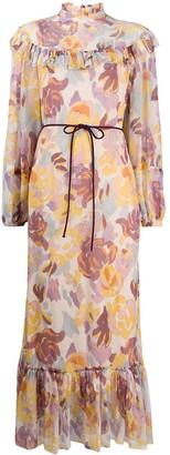 M Missoni Floral Print Ruffled Dress