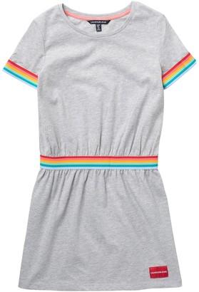 Calvin Klein Rainbow Stripe Trim Knit Dress