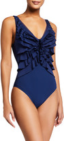 Shan Niigata V-Neck Tiered Ruffle One-Piece Swimsuit