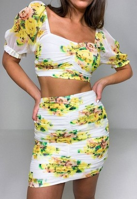 Missguided Yellow Floral Print Co Ord Ruched Mini Skirt