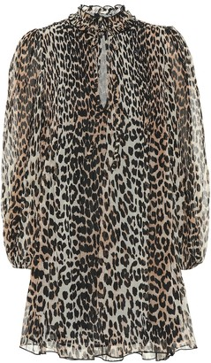 Ganni Leopard-print georgette minidress