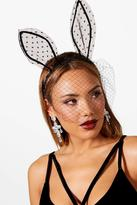 boohoo Mol Polka Bunny Ears With Netted Veil
