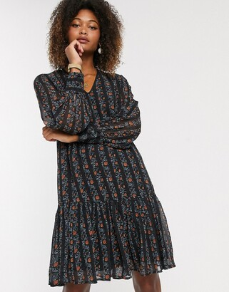Y.A.S chiffon smock dress with drop hem in mixed floral and stripe
