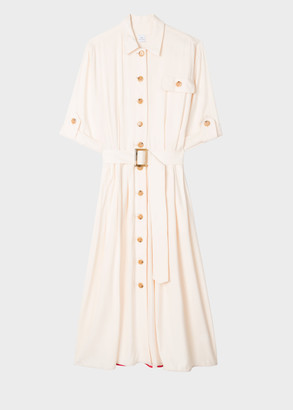 Paul Smith Off-White Belted Shirt Dress