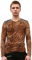 uxcell Allegra K Men Leopard Prints Pullover Design Spring Top Beige Brown M