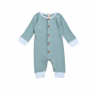 Loalirando Baby Boys Girls Knit Romper Solid Color Long Sleeve Round Collar Infant One-Piece Casual Pajamas Outfits (Blue 12-18 Months)