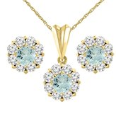Sabrina Silver 14K Yellow Gold Natural Aquamarine Earrings and Pendant Set with Diamond Halo Round 6 mm