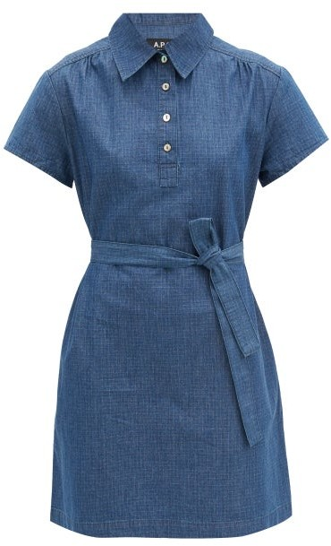 A.P.C. Prudence Belted Denim Mini Dress - Blue