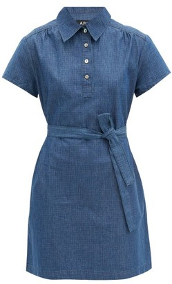 A.P.C. Prudence Belted Denim Mini Dress - Blue