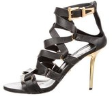 Versace Leather Crossover Sandals