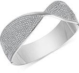 Swarovski Silver-Tone Twisted Pavé Hinged Bangle Bracelet