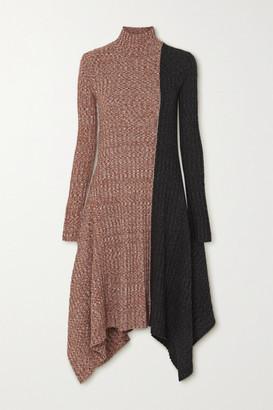 J.W.Anderson Asymmetric Two-tone Melange Merino Wool Turtleneck Dress - Brown