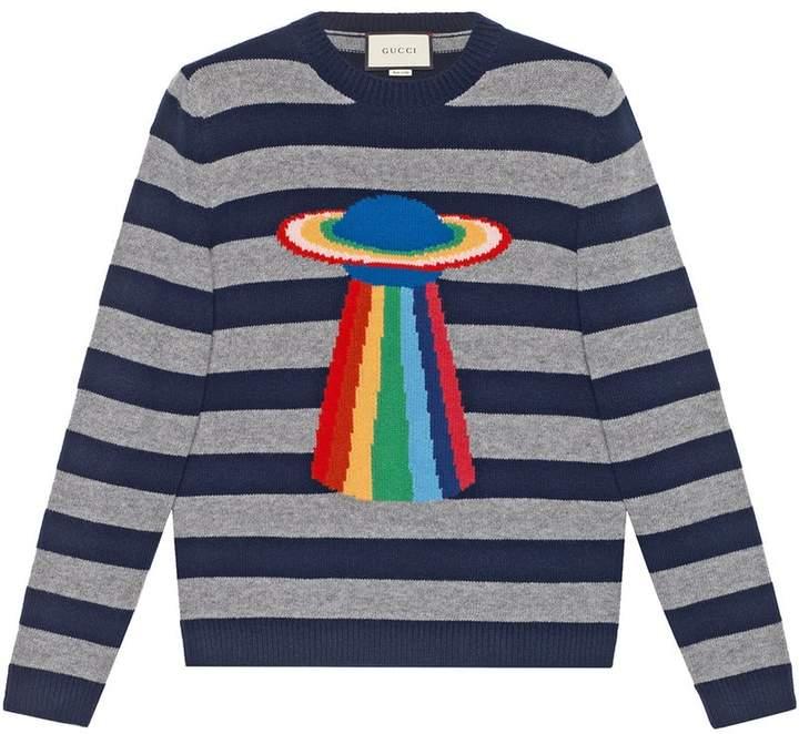 Gucci Planet intarsia striped sweater