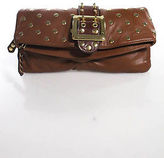 Be & D Brown Leather Gold Tone Studded Buckle Clutch Handbag