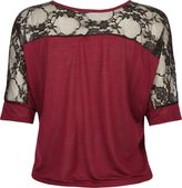 Full Tilt Floral Lace Shoulder Womens Tie Front Tee