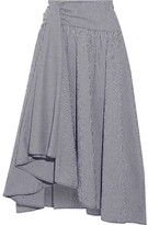 Rosie Assoulin Asymmetric Draped Gingham Seersucker Midi Skirt - Midnight blue